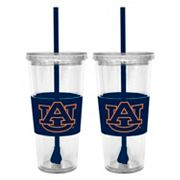 Auburn Tigers 2 pc Double-Walled Straw Tumbler Set