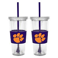 Clemson Tigers 2-pc. Double-Walled Straw Tumbler Set