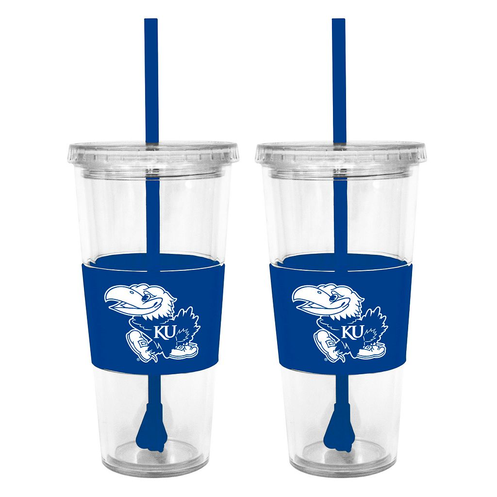 Kansas Jayhawks 2-pc. Double-Walled Straw Tumbler Set