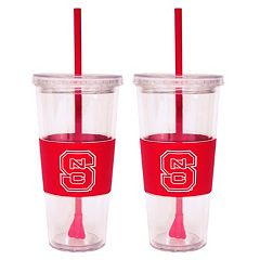 North Carolina State Wolfpack 2 pc Double-Walled Straw Tumbler Set
