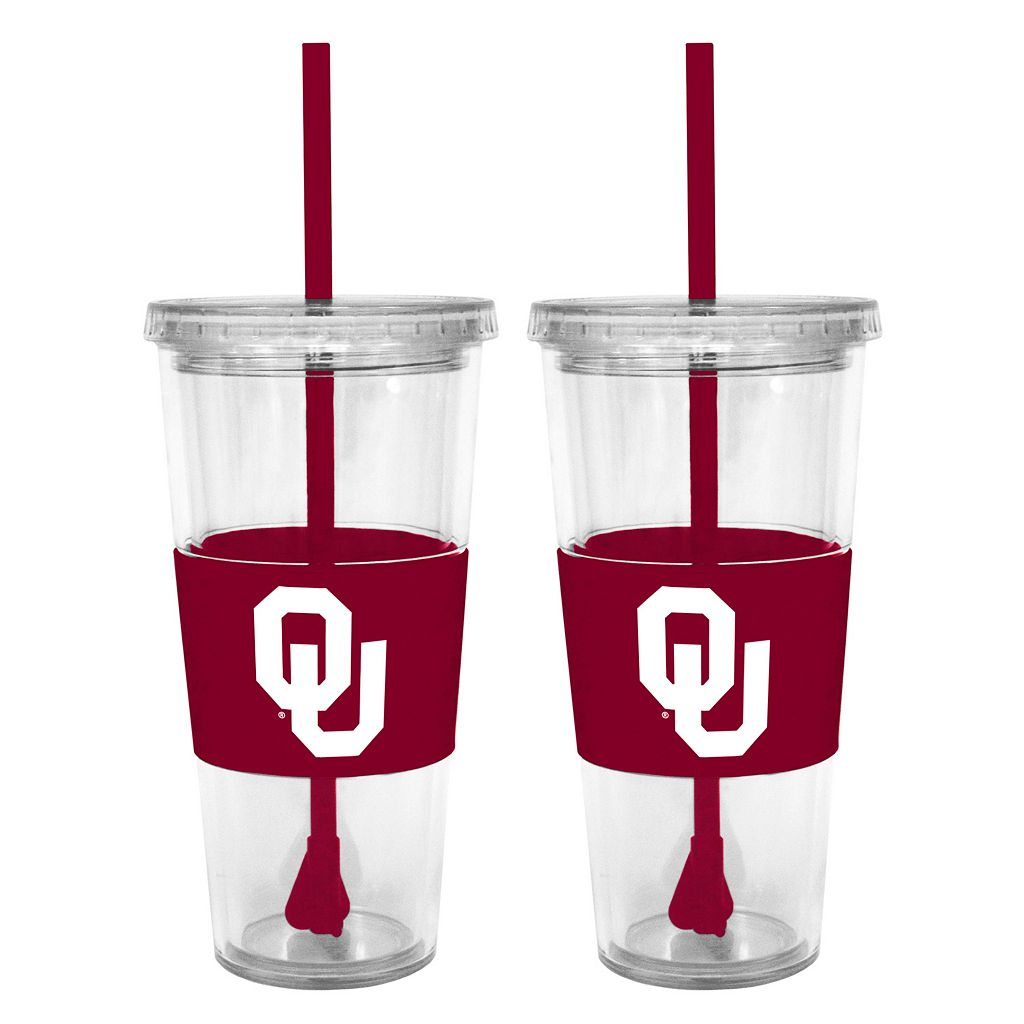 Oklahoma Sooners 2-pc. Double-Walled Straw Tumbler Set