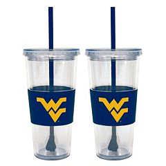 West Virginia Mountaineers 2-pc. Double-Walled Straw Tumbler Set