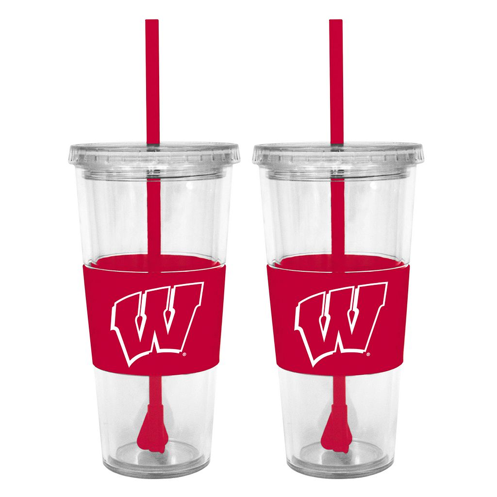 Wisconsin Badgers 2-pc. Double-Walled Straw Tumbler Set