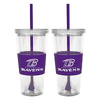 Baltimore Ravens 2 pc Double-Walled Straw Tumbler Set