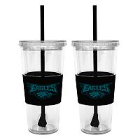 Philadelphia Eagles 2 pc Double-Walled Straw Tumbler Set