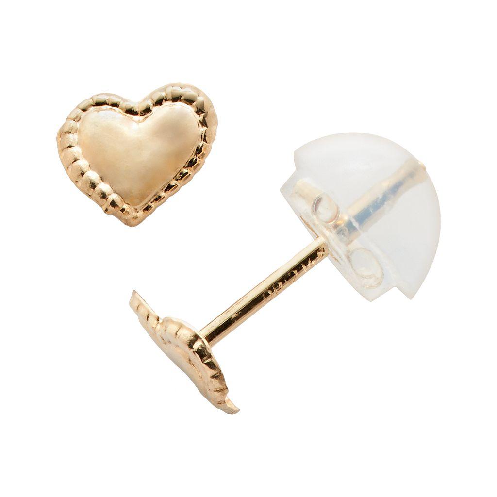 Junior Jewels 14k Gold Heart Stud Earrings - Kids