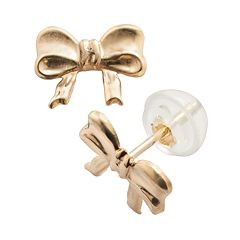 Junior Jewels 14k Gold Bow Stud Earrings - Kids