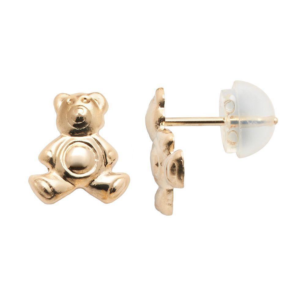 Junior Jewels 14k Gold Teddy Bear Stud Earrings - Kids