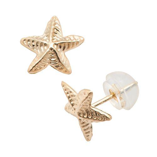Junior Jewels 14k Gold Starfish Stud Earrings - Kids