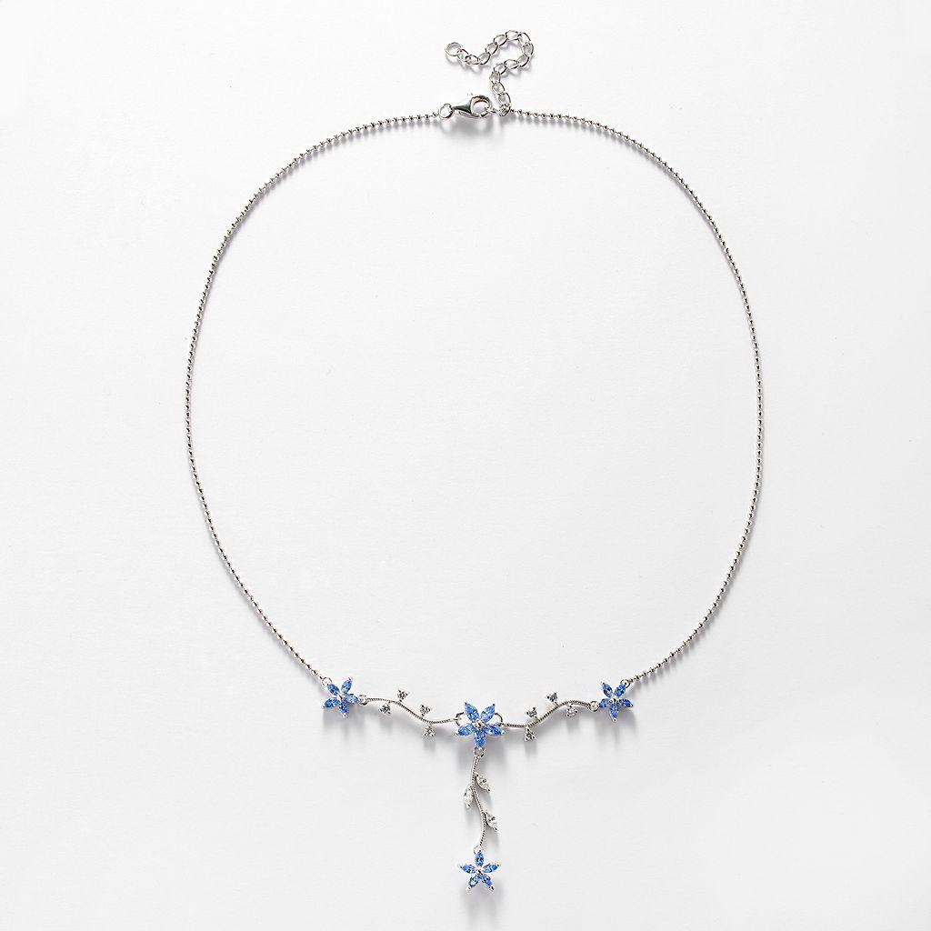 Sunstone 925 Sterling Silver Flower Y Necklace - Made with Swarovski Zirconia