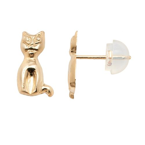 Junior Jewels 14k Gold Cat Stud Earrings - Kids