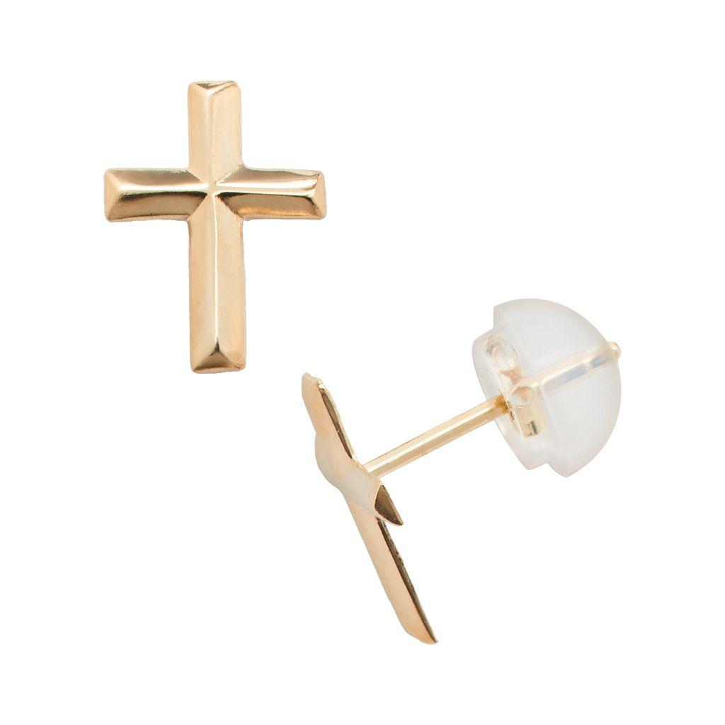 Junior Jewels 14k Gold Cross Stud Earrings - Kids