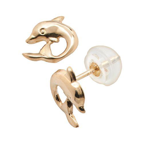Junior Jewels 14k Gold Dolphin Stud Earrings - Kids