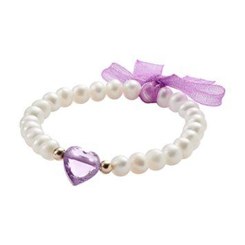 Junior Jewels 14k Gold Freshwater Cultured Pearl & Heart Bead Stretch Bracelet - Kids