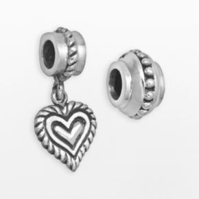 Individuality Beads Sterling Silver Textured Bead and Heart Charm Set