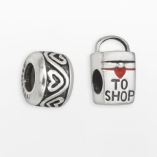 Individuality Beads Sterling Silver Love to Shop Bag and Heart Stopper Bead Set