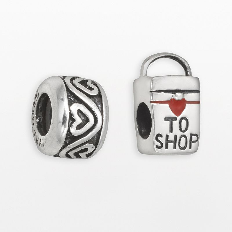 Individuality Beads Sterling Silver ''Love to Shop'' Bag & Heart Stopper Bead Set