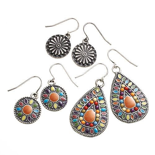Mudd® Silver Tone Beaded & Textured Disc Drop Earring Set