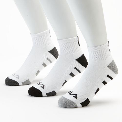 53ed2a994fd7f FILA SPORT® 3-pk. Reflector Quarter Socks - Men