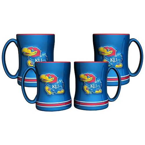 Kansas Jayhawks 4-pk. Sculpted Relief Mug