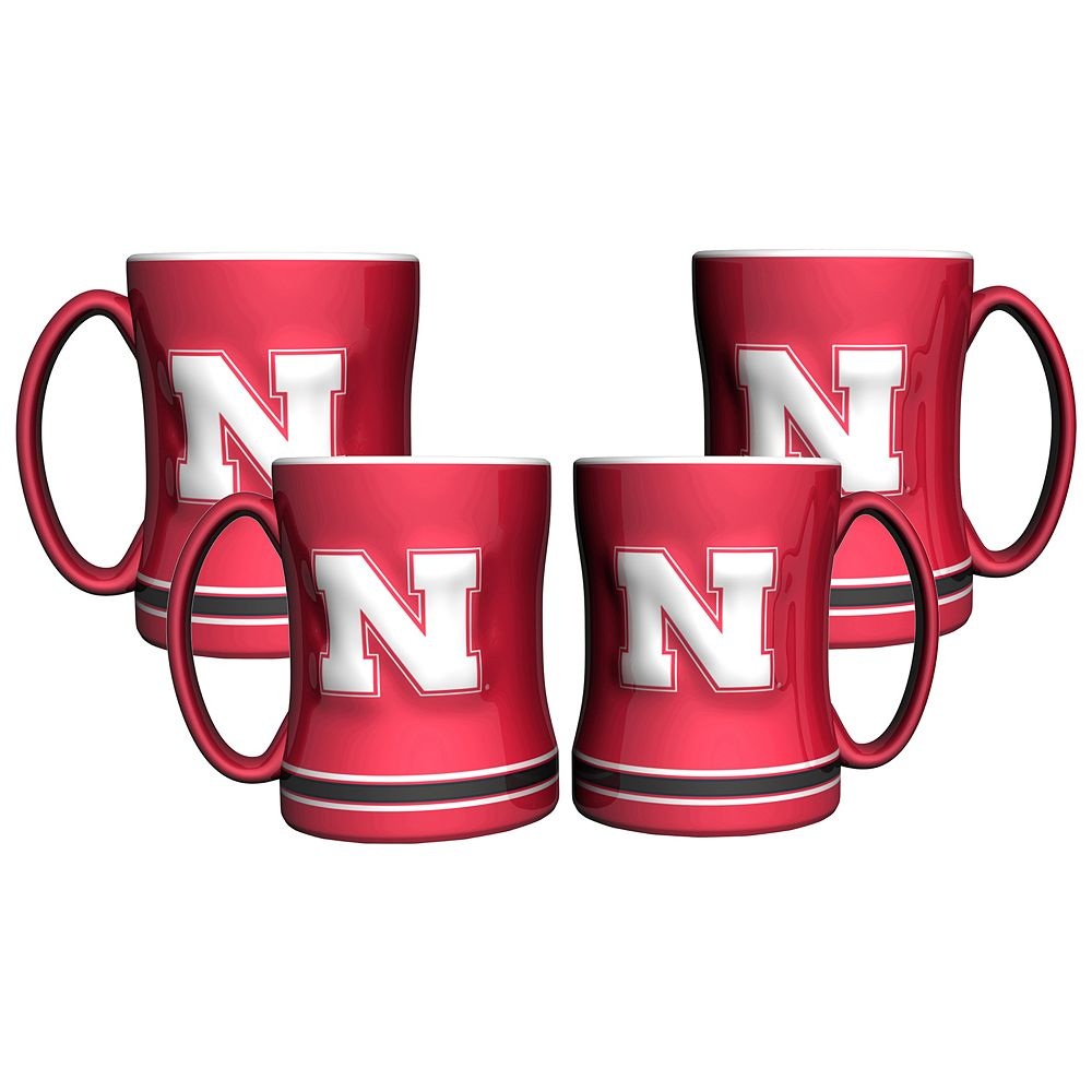 Nebraska Cornhuskers 4-pk. Sculpted Relief Mug