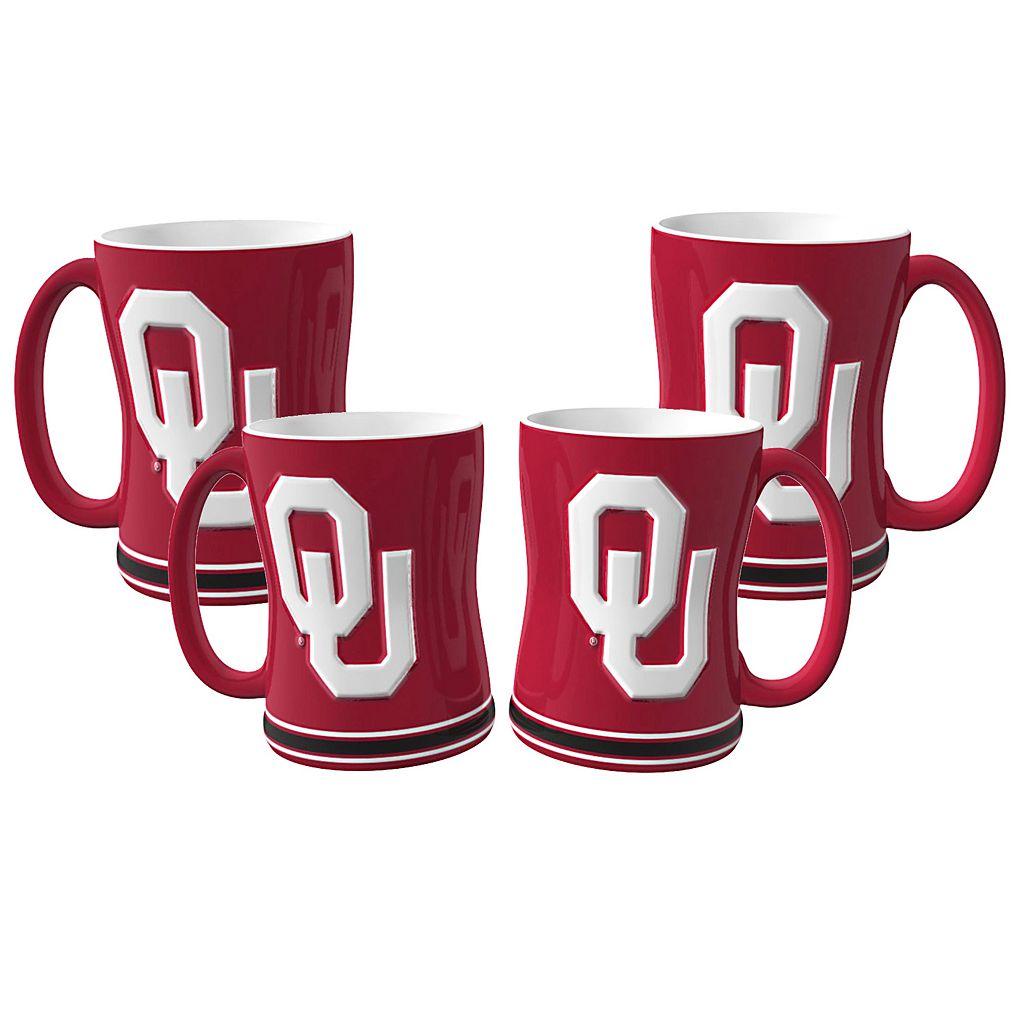 Oklahoma Sooners 4-pk. Sculpted Relief Mug