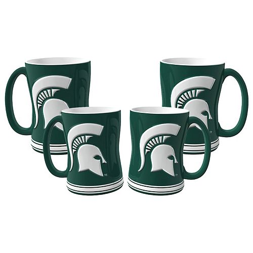 Michigan State Spartans 4-pk. Sculpted Relief Mug
