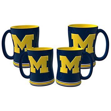 Michigan Wolverines 4-pk. Sculpted Relief Mug