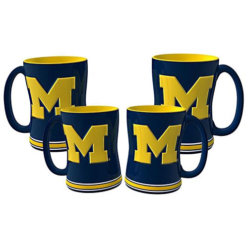 Michigan Wolverines 4-pk. Sculpted Relief Mug