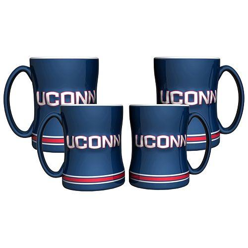 UConn Huskies 4-pk. Sculpted Relief Mug
