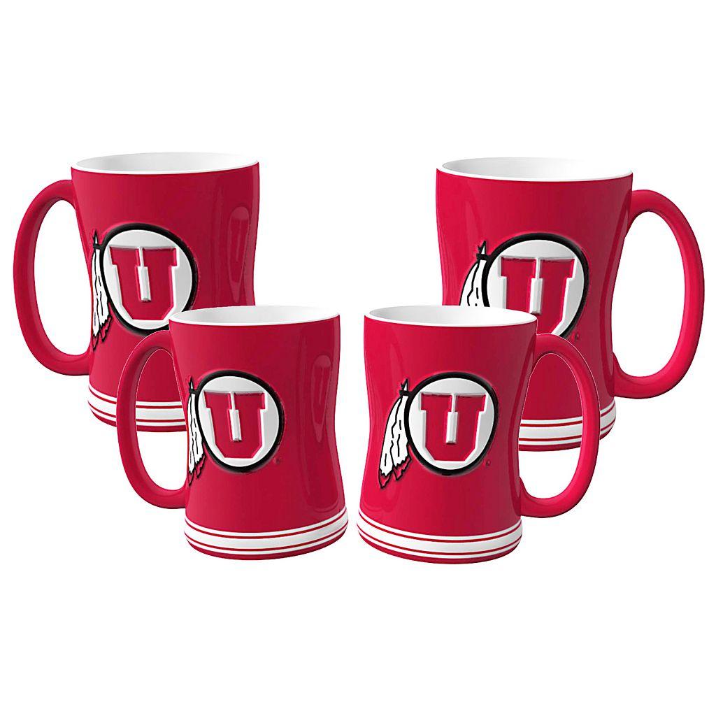 Utah Utes 4-pk. Sculpted Relief Mug