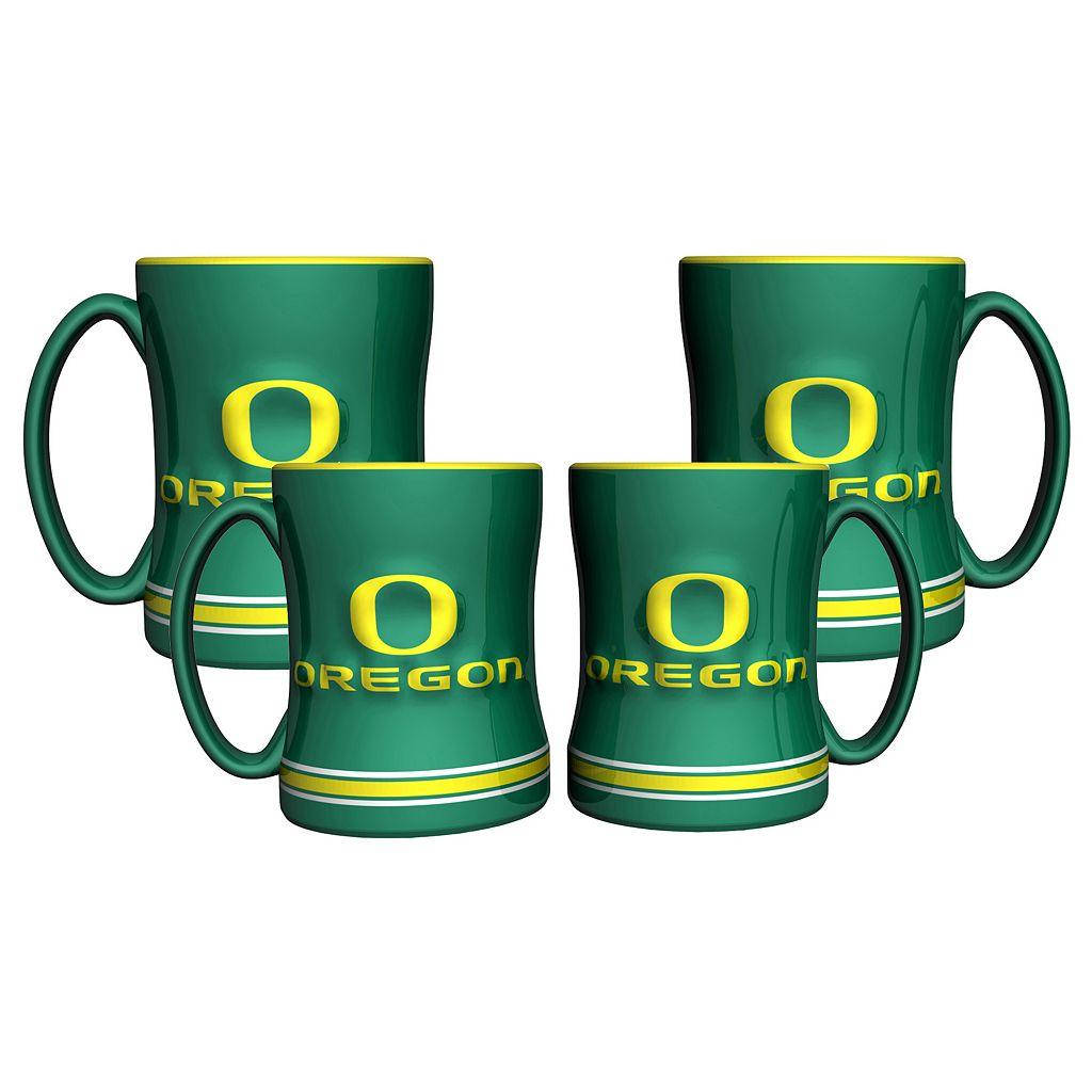 Oregon Ducks 4-pk. Sculpted Relief Mug