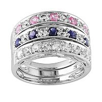 Sterling Silver Lab-Created Pink, Blue & White Sapphire Stack Ring Set