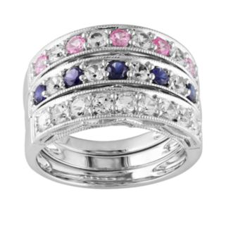 Sterling Silver Lab-Created Pink, Blue and White Sapphire Stack Ring Set