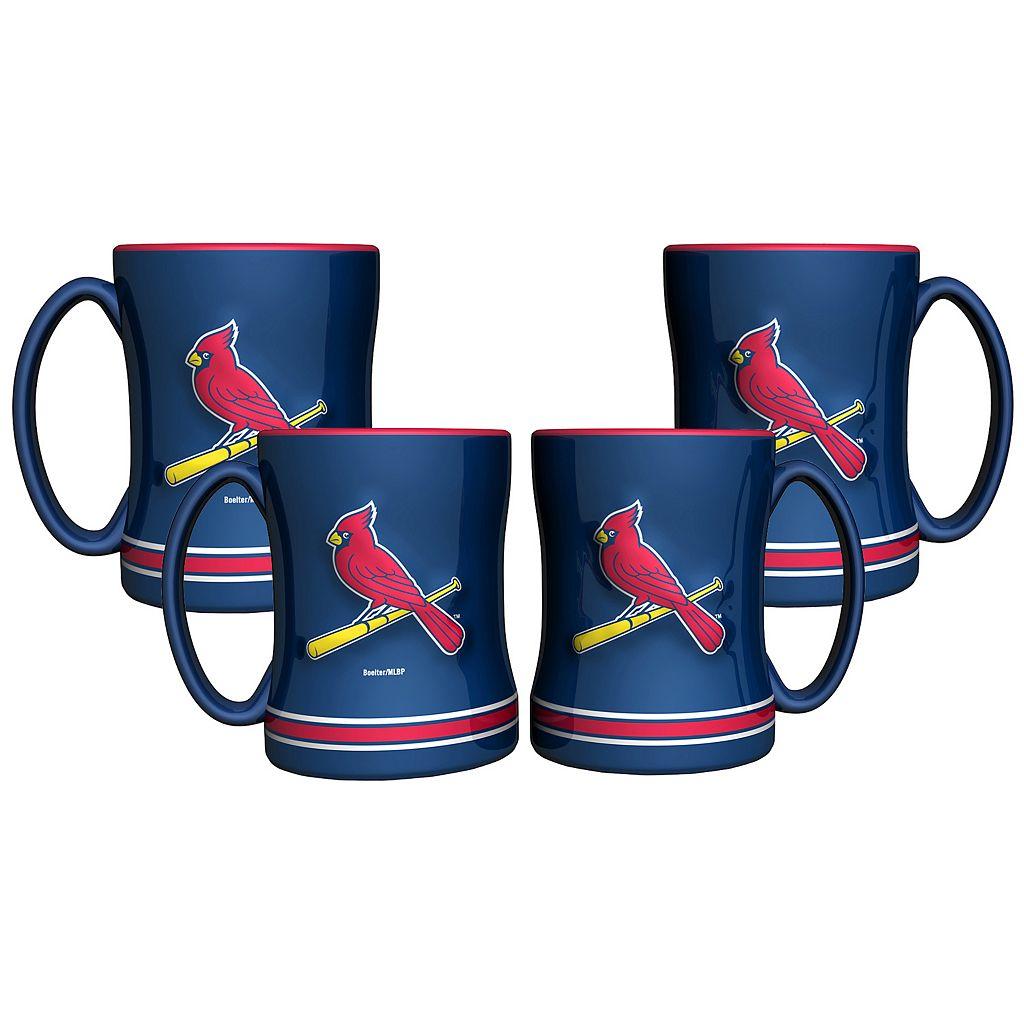 St. Louis Cardinals 4-pk. Sculpted Relief Mug
