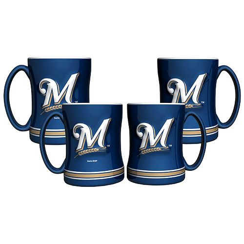 Milwaukee Brewers 4-pk. Sculpted Relief Mug