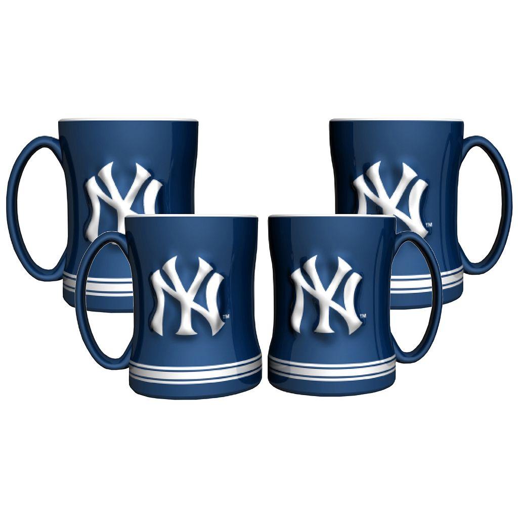 New York Yankees 4-pk. Sculpted Relief Mug