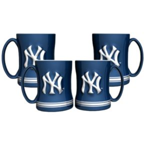 New York Yankees 4-pk. Sculpted Relief Mug