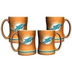 Miami Dolphins 4-pk. Sculpted Relief Mug