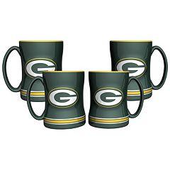 Green Bay Packers 4-pk. Sculpted Relief Mug
