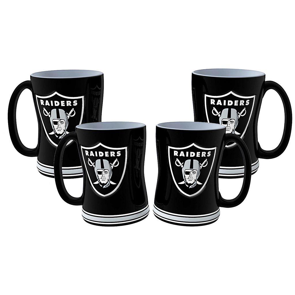 Oakland Raiders 4-pk. Sculpted Relief Mug