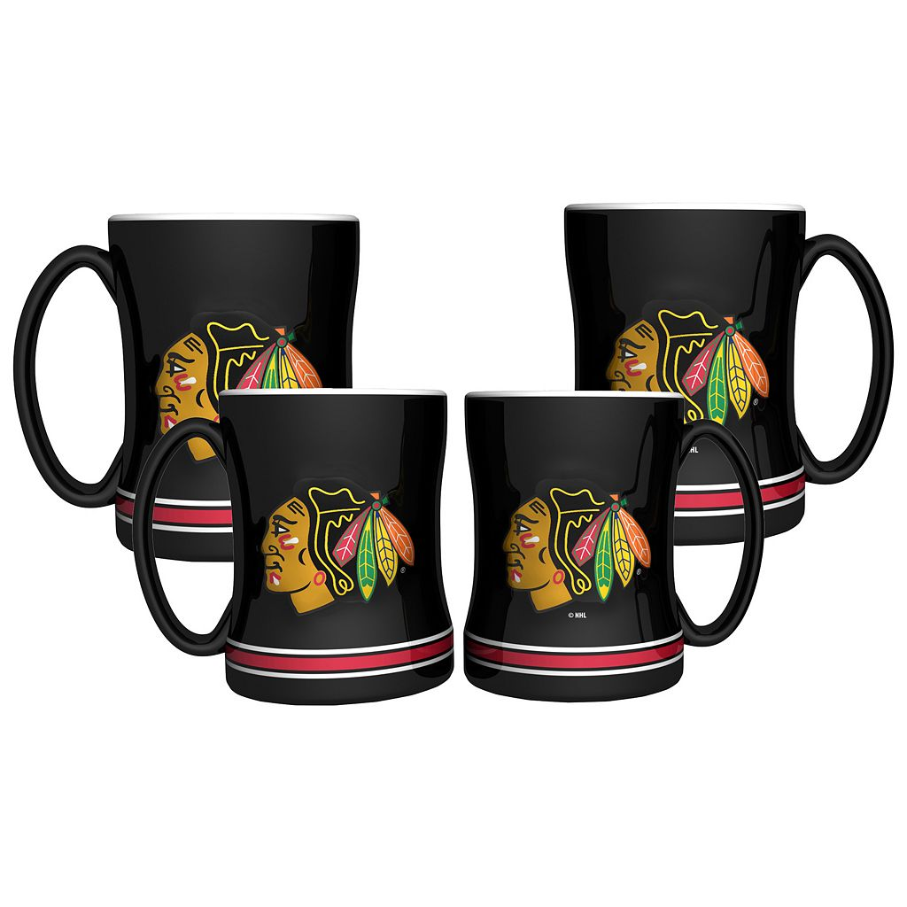 Chicago Blackhawks 4-pk. Sculpted Relief Mug