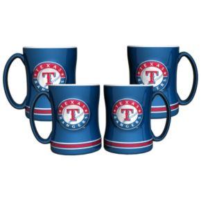 Texas Rangers 4-pk. Sculpted Relief Mug