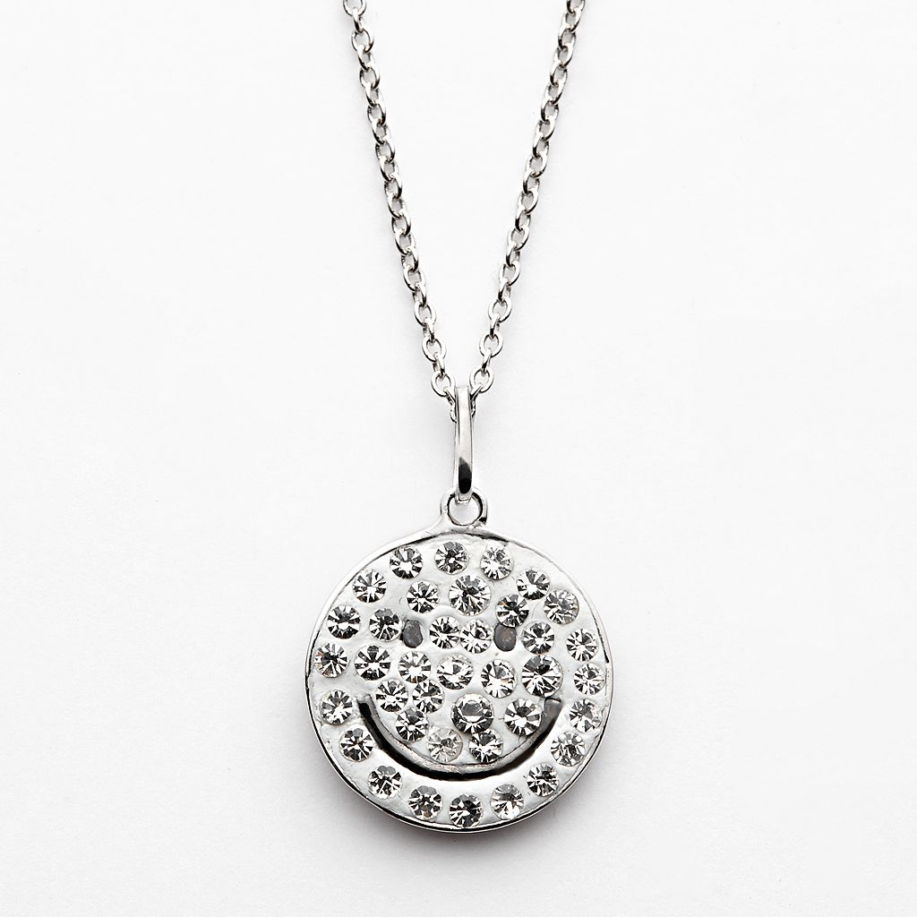 Silver-Plated Crystal Smiley Face Pendant
