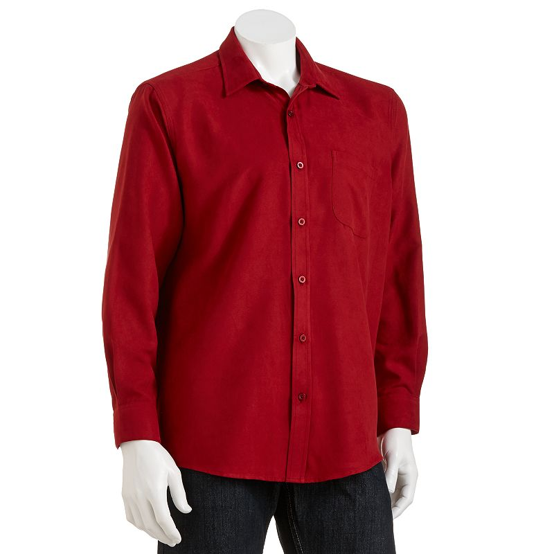 Haggar Faux Suede Easy Care Casual Button Down Shirt Men