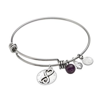 love this life Silver-Plated & Stainless Steel Amethyst Bead & Heart Charm