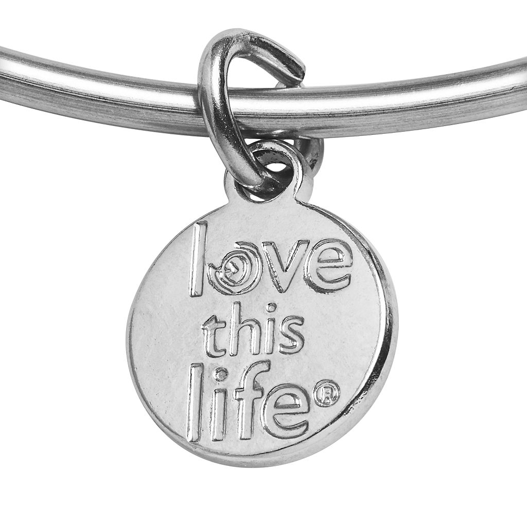 love this life Silver-Plated and Stainless Steel Amethyst Bead and Heart Charm Sisters Bangle Bracelet