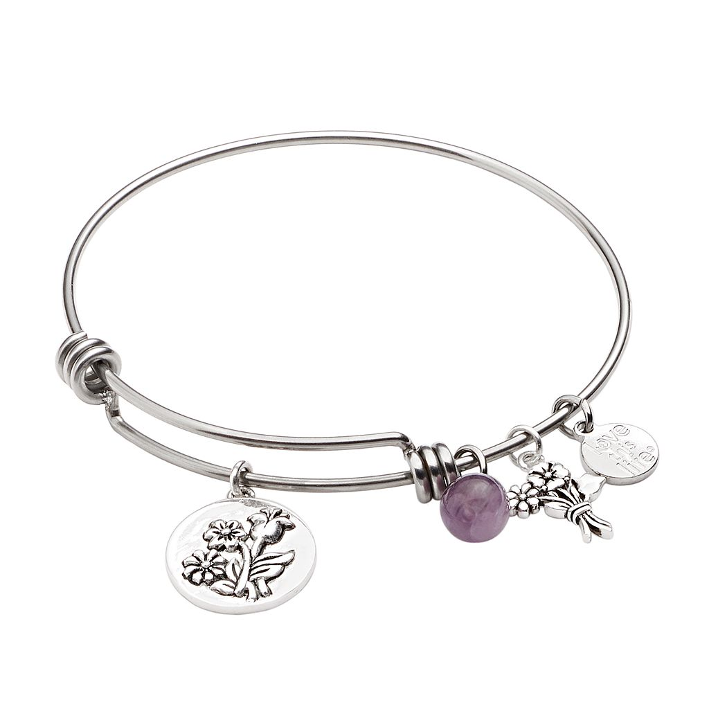 love this life Silver-Plated & Stainless Steel Amethyst Bead & Flower Charm