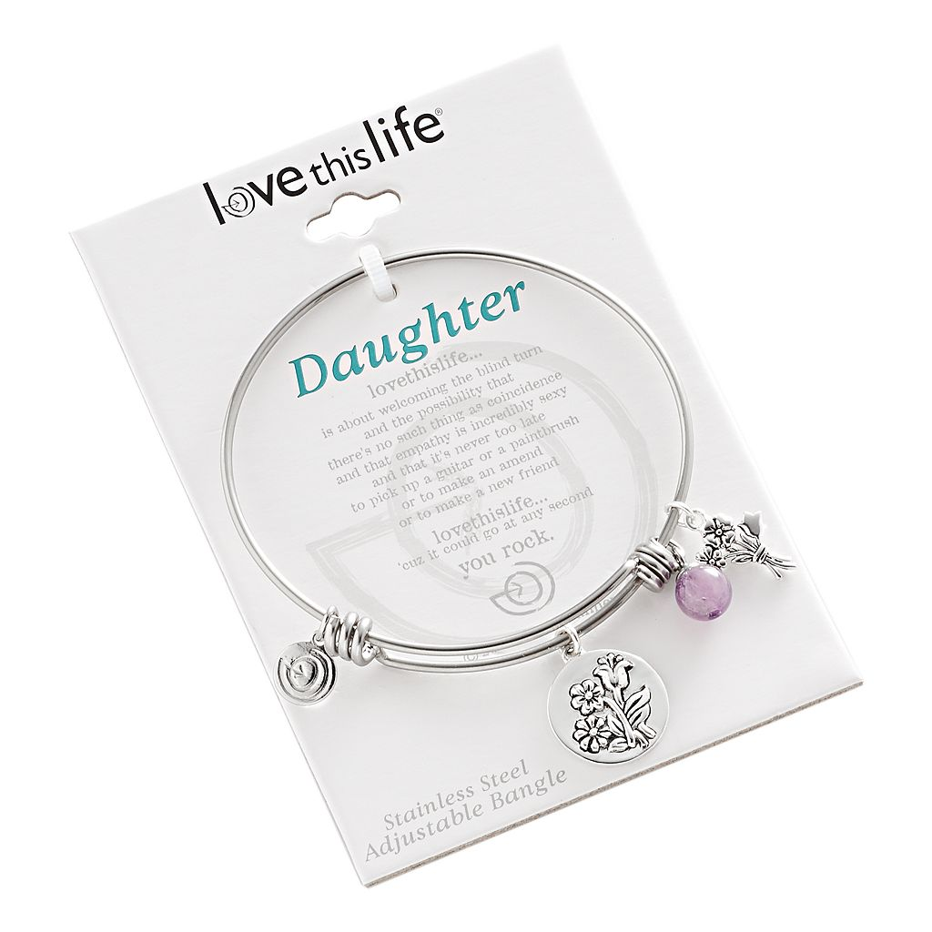 love this life Silver-Plated and Stainless Steel Amethyst Bead and Flower Charm Daughter Bangle Bracelet