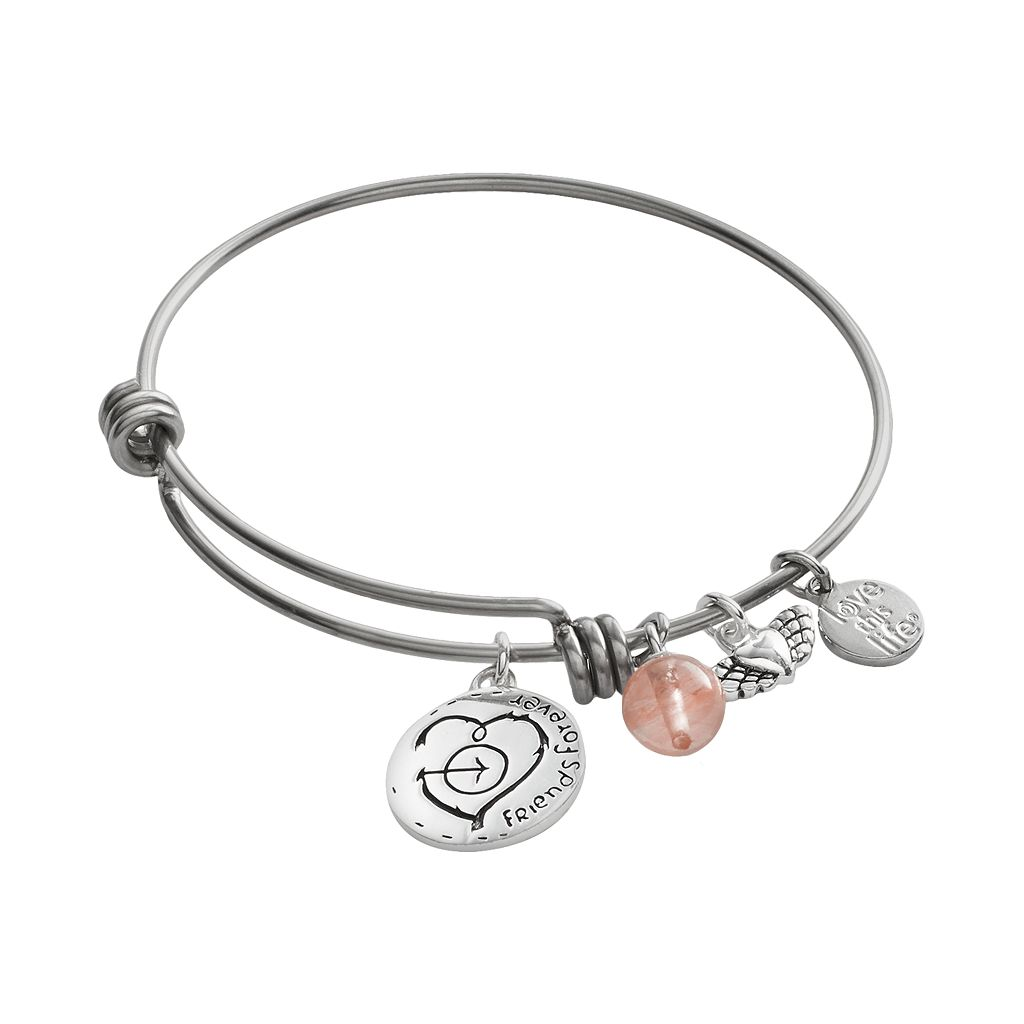 love this life Silver-Plated & Stainless Steel Cherry Quartz Bead & Heart Charm